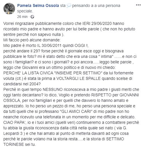 Pamela Ossola su Giovanni Ossola