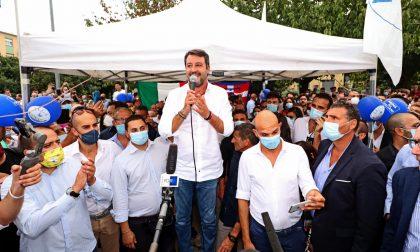Bagno di folla per il blitz di Matteo Salvini a Venaria Reale