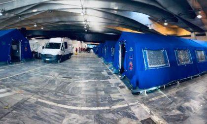 Covid, a Torino Esposizioni montate le tende arrivate dalla Provincia Autonoma di Trento. FOTO