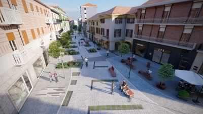 Via Italia pedonale: operai al lavoro,  il cantiere per il restyiling del centro