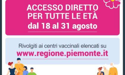 Coronavirus: in Piemonte, dal 18 al 31 agosto 2021, accesso diretto per tutte le età.